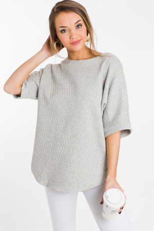 Quilted Boxy Top, Grey