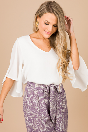 Solid Crinkle Top, White