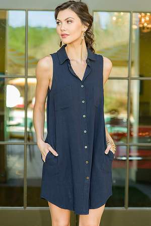 Test of Time Button Dress, Navy