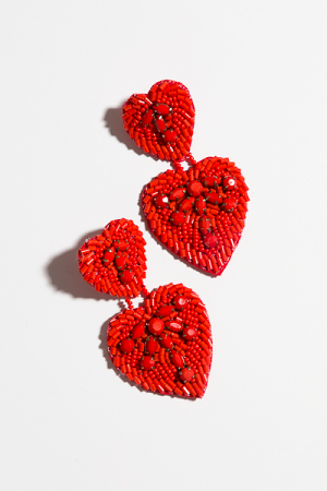 Jeweled Red Hearts Earring