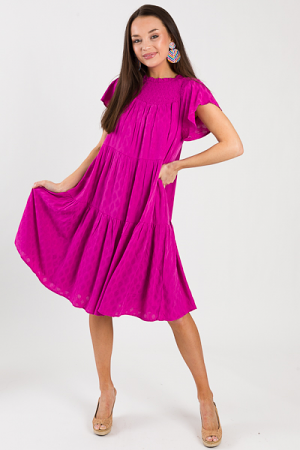 Diamond Tier Midi, Solid Fuchsia