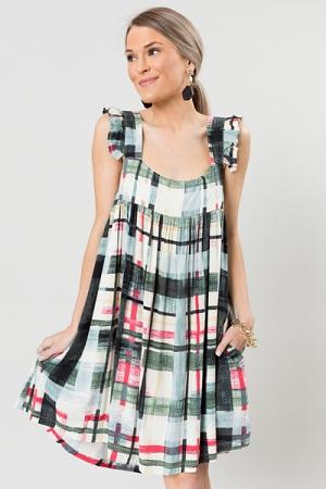 Painted Checks Dress, Multi