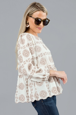 Sundial Scallop Top, Ivory