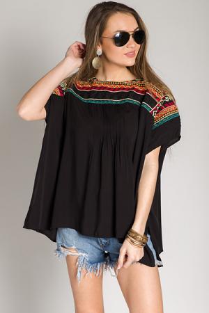 Embroidered Shoulders Top, Black