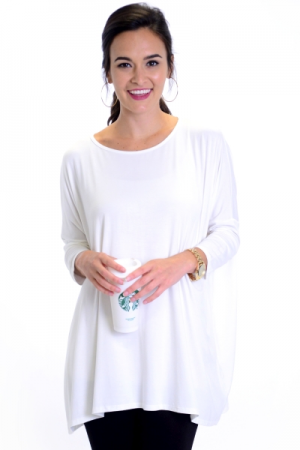 Solid Dolman Tunic, Ivory