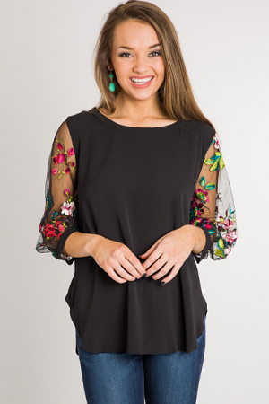 Floral Statement Sleeves Top