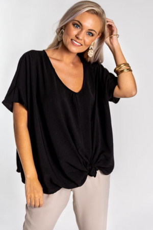 Tara Twist Top, Black