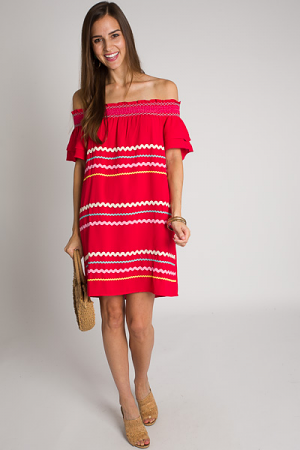 Ric Rac Off Shoulder Dress, Red