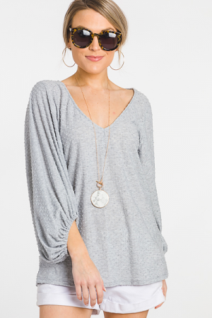 Flocked Dots Top, Gray