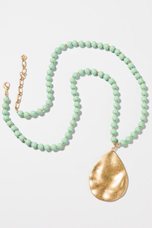 Mint Teardrop Long Necklace