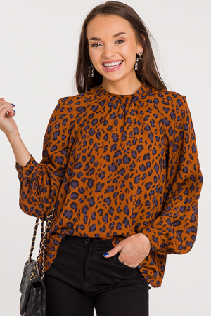 Olivia Leopard Blouse, Brown