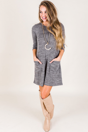 Kara Pocket Dress, Grey