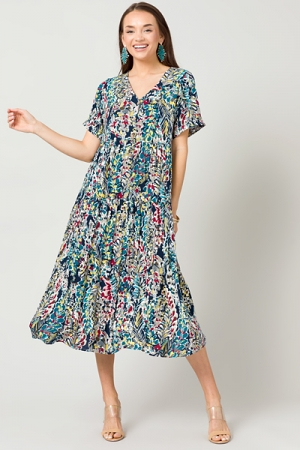 Buttoned Branches Midi, Navy