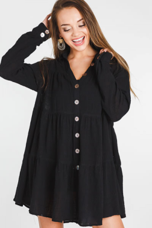 Tiered Button Dress, Black