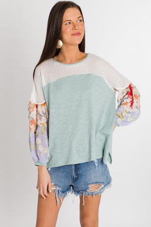 Floral Craze Top, Mint
