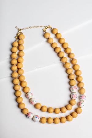 Vintage Wood Beads Neck