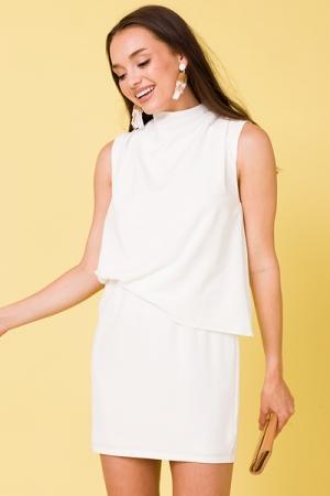 Asymmetric Drape Dress, White