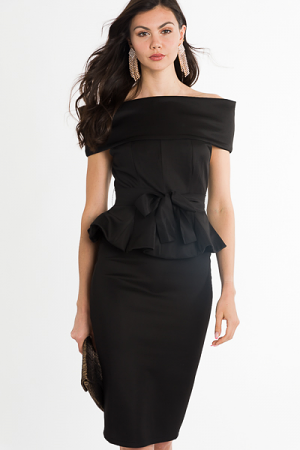 Kate Peplum Dress, Black