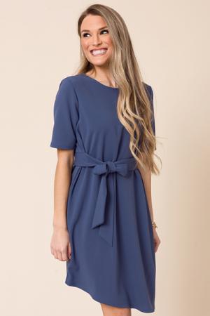 Juliet Tie Front Dress, Blue