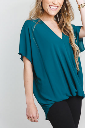 Surplice Snap Blouse, Teal
