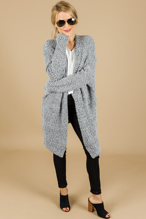 Textured Cloud Cardigan, Grey
