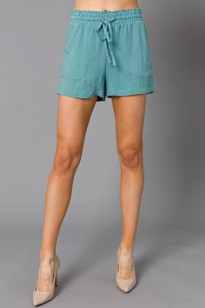 Steph Solid Shorts, Dusty Aqua