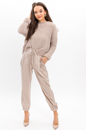 Scallop Chenille Sweater, Taupe