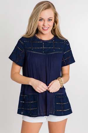 Cora Crochet Top, Navy