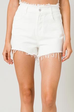 Hallie White Fray Denim Shorts