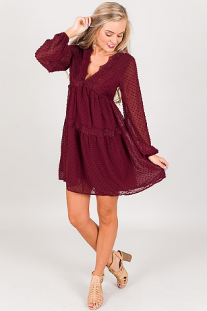 Bohemian Burgundy Dress