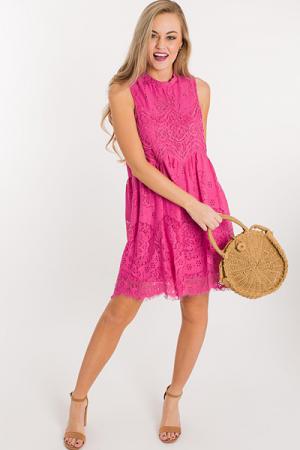 Eyelash Lace Dress, Magenta