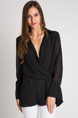 Draped Black Blouse