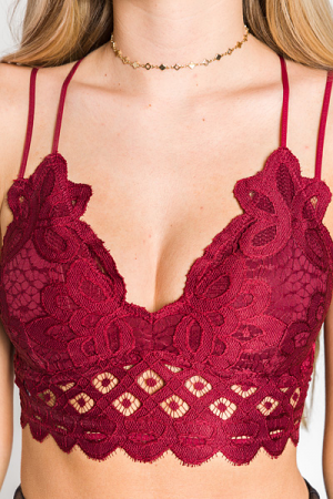 Lacy Padded Bralette, Burgundy