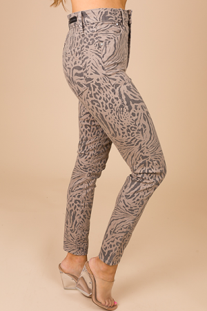Printed Jeans, Taupe