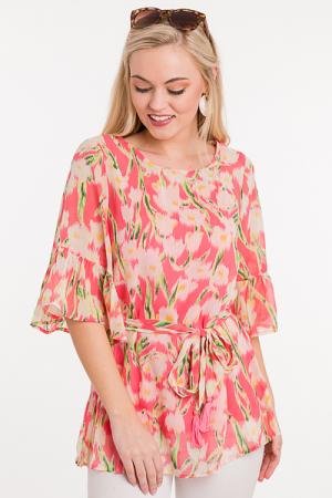 Printed Tie Waist Blouse, Coral