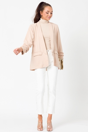 Spotted Liner Open Blazer, Taupe