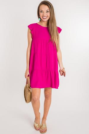 Hot Fuchsia Tiered Dress