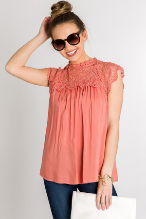 Lace Front Mock Neck, Salmon