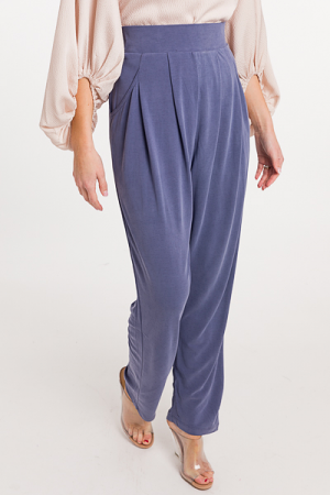 Side Button Soft Pants, Denim Blue