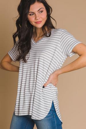 Dani T-Shirt, Gray Stripe