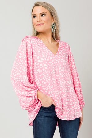Bubble Blouse, Pink Leopard