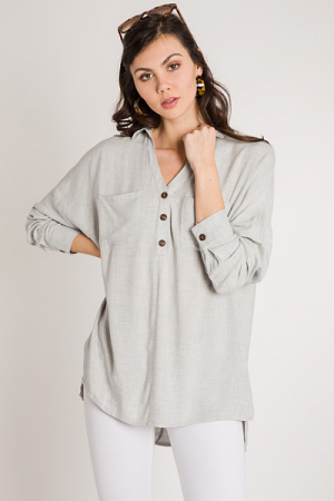 Half Button Tunic, Grey