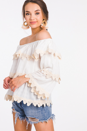 Scallop Off Shoulder Top, Nude