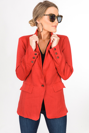 Linen Lover Jacket, Rustic Red