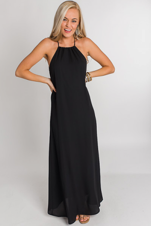 Drawstring Neck Maxi, Black