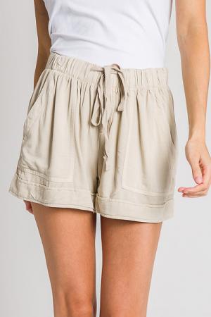 Utility Drawstring Shorts, Natural