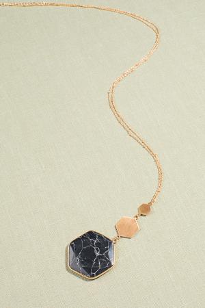 Long Hex Necklace, Black