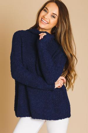 Navy Popcorn Sweater