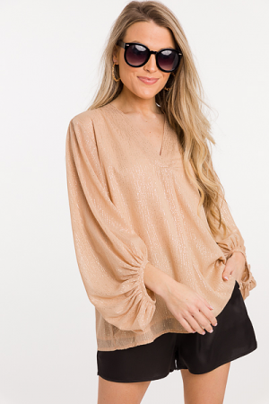 Gold Specks Bubble Blouse, Champagne