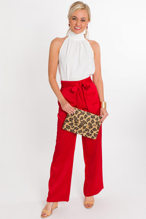 Slip Into Satin Pants, Red